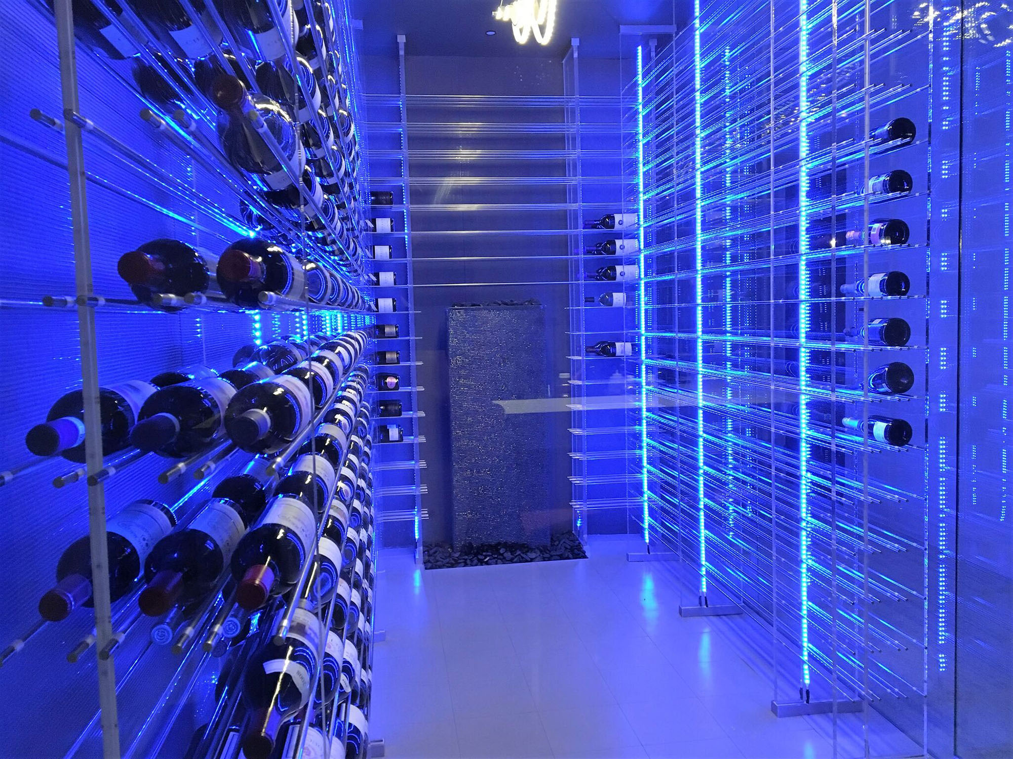 Plastic Wine Rack With Blue Lighting