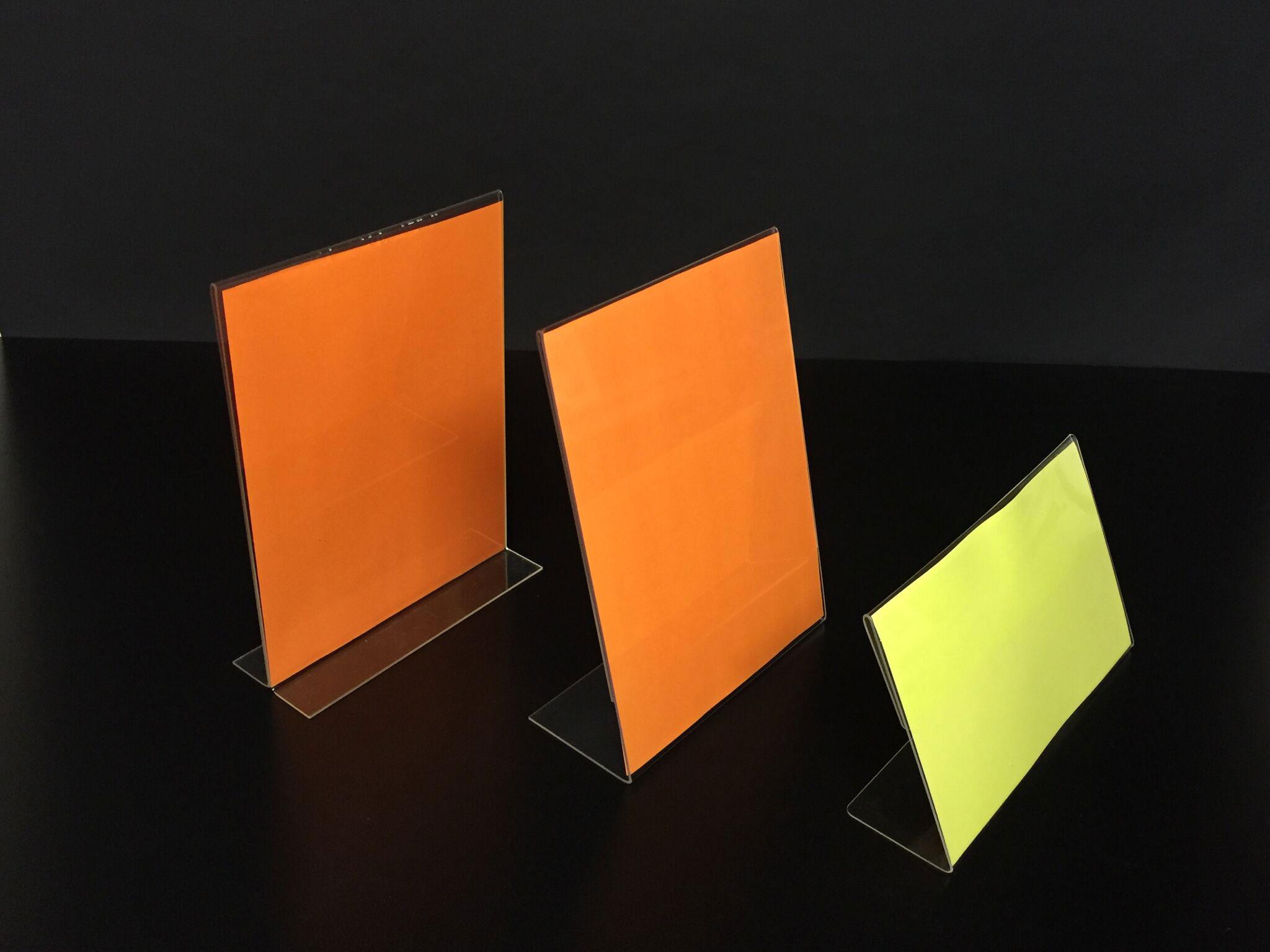 Literature Holders with Orange Paper