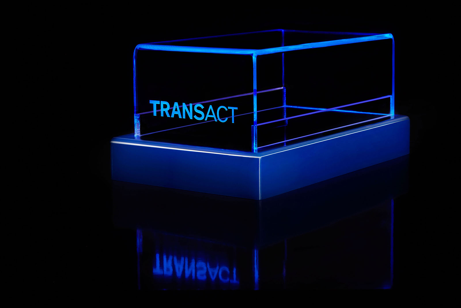 transact logo on LED display