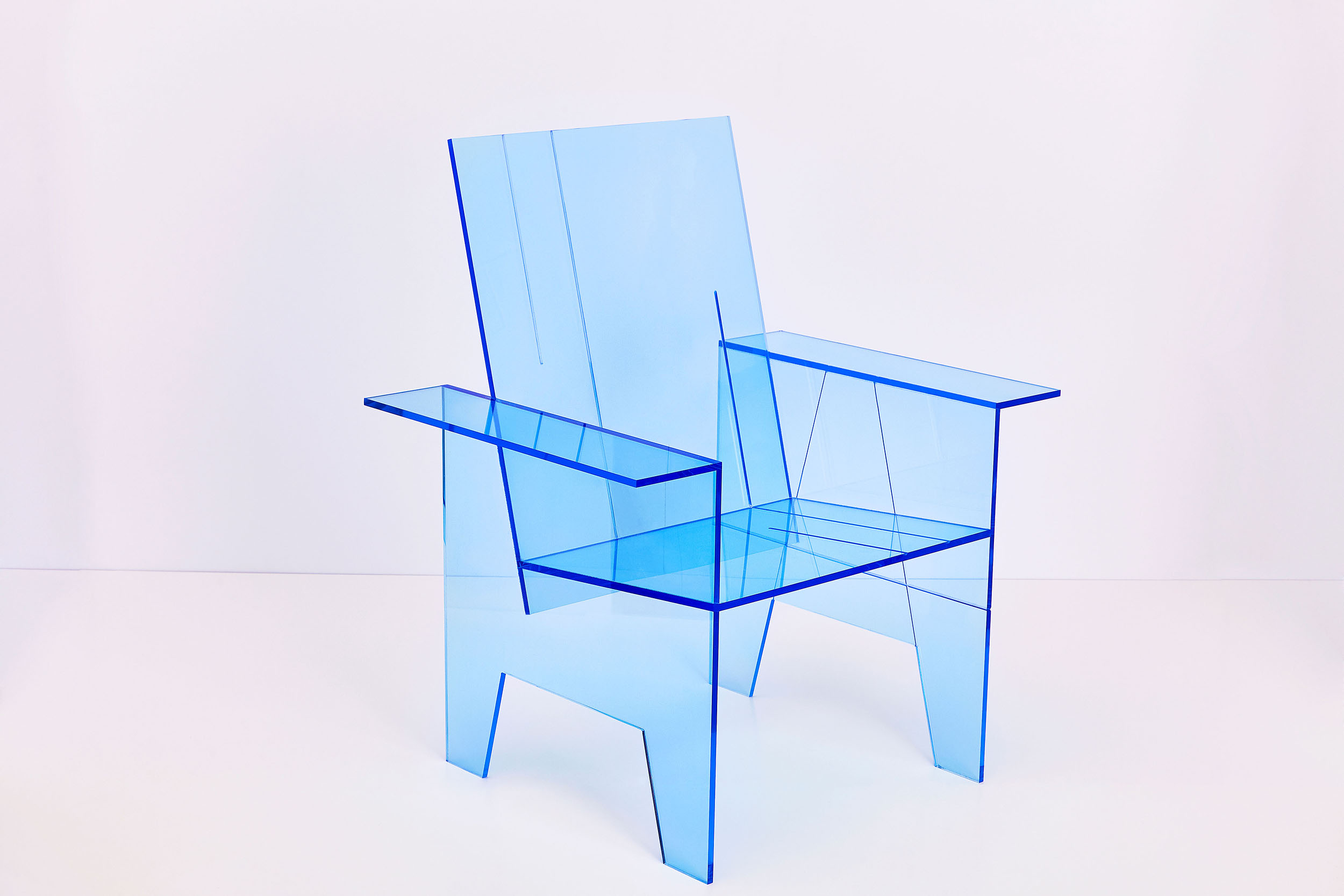 Intel Fluorescent Blue Chair With White Background