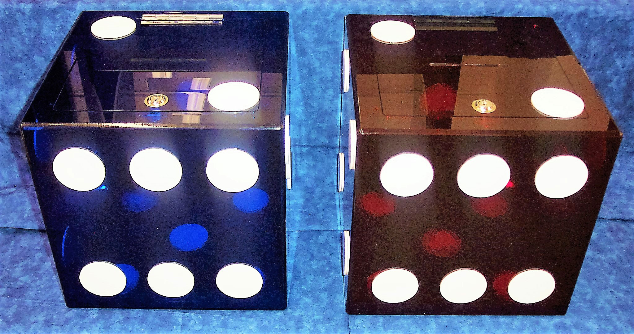 Transparent Dice Ballot Boxes Blue and Red