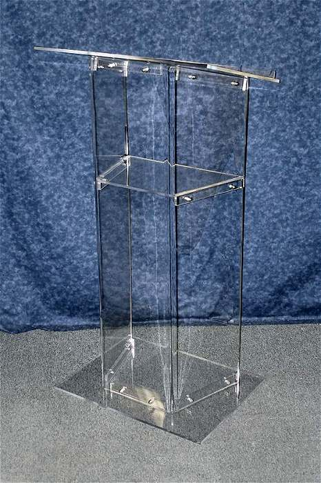 Clear Podium With a Shelf