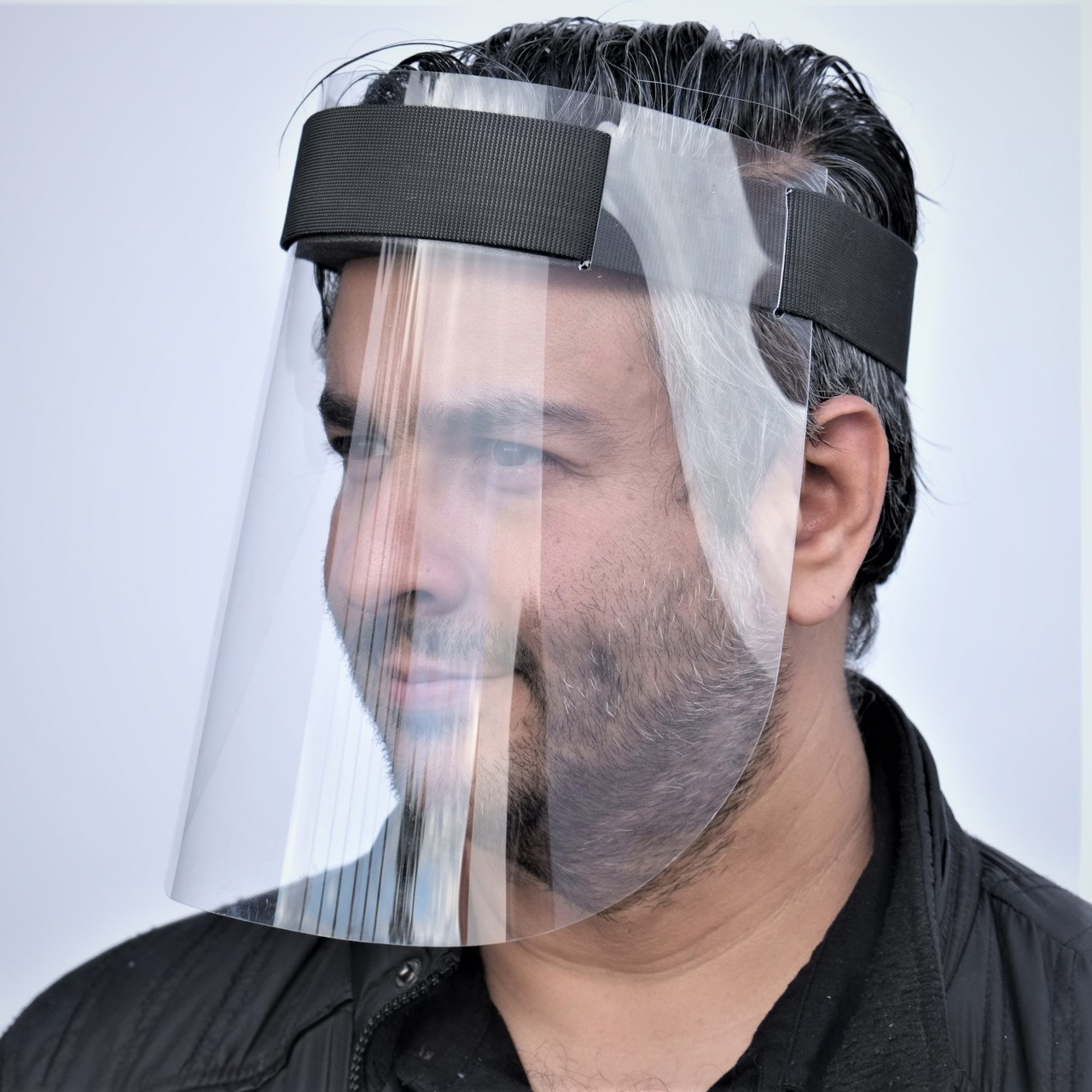 Face Shield w/Velcro Head Band – Side View